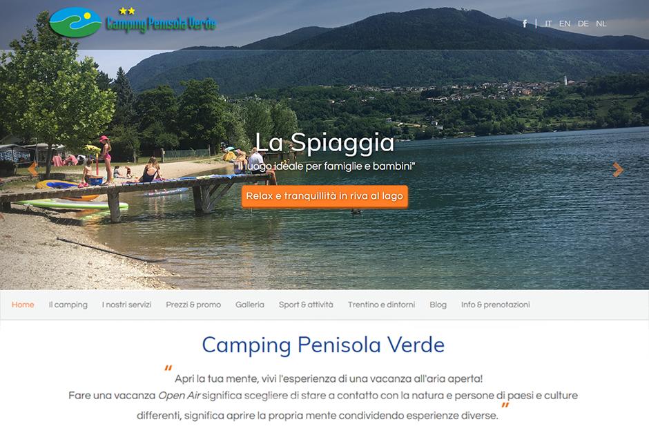 Penisolaverde.it, sito multilingue del Camping Penisola Verde - Provincia di Trento.